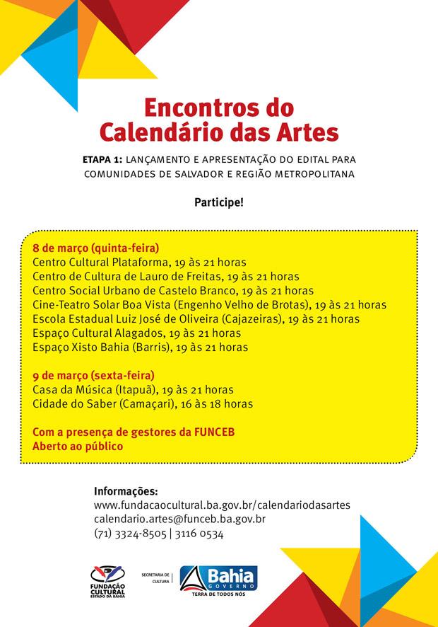 Encontro do Calendário das Artes, às 19h no Cine Teatro Solar Boa Vista
