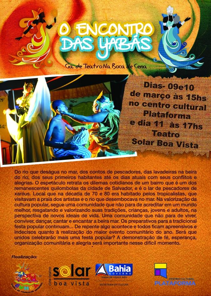O Encontro das Yabas, às 17h | Cine Teatro Solar Boa Vista