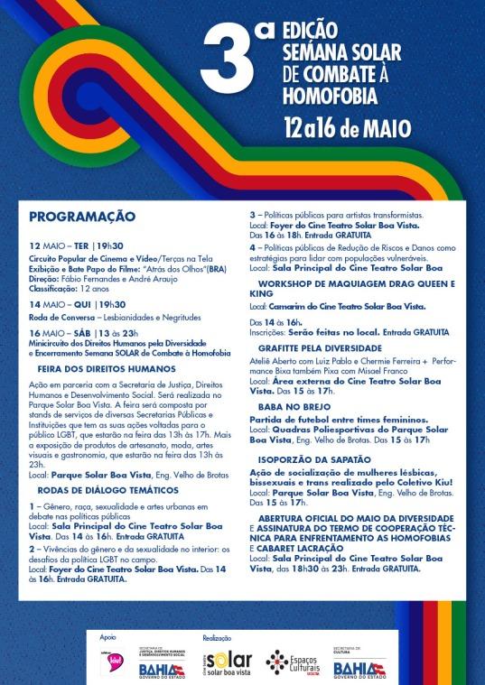 Progrmação_3ª Semana Solar de Combate à Homofobia